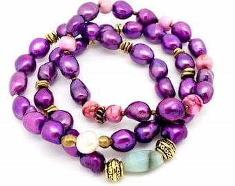 Purple Freshwater Pearl Bracelet Trio /bracelets/ stretch bracelets / handmade jewelry / jewelry / stacking /gifts for her / pearls / luxury
