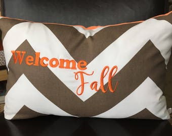 Fall Pillow Cover 12 x 20|16 x 16|20 x 20 inch Pillow Cover Lumbar Pillow Cover Fall Home Decor Autumn Pillow Cover Brown Chevron Pillow