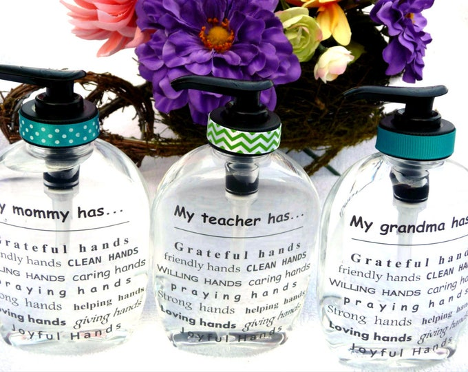 Personalized Hand Soap Dispenser ~ Teacher Appreciation Gifts ~ Gifts for Mom ~ Wedding Gifts ~ Neighborhood Welcoming Gifts