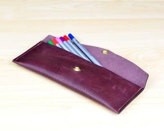 Leather Pen Case, Pencil Case, Leather Pen Pouch, Pen Holder, Pencil Pouch, Personalized Gift - Bordeaux Chromexcel