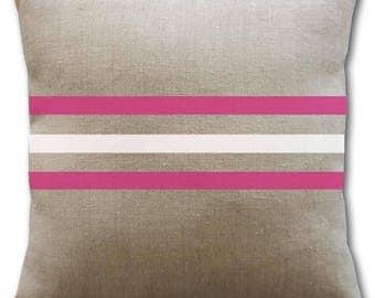 Natural, white and fuchsia pink linen cushion