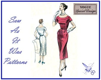 "1950s FF Unused Vogue Special Design S-4503 4503 Sheath Dress Low Scoop Neckline Yoke Vintage Sewing Pattern Size 14 Bust 32"" 83cm"