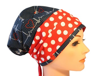 Scrub Hat Cap Chemo Bad Hair Day Hat  European BOHO Banded Pixie Calling All Nurses EKG Red Band 2nd Item Ships FREE