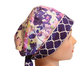 Scrub Hat Surgical Scrub Cap Chemo Hat Tie Back  Flirty Front Fold Pixie Style Lilac Lavender Floral 2nd Item Ships FREE