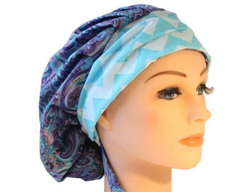 Scrub Cap Surgical Medical Chemo Chef Vet Doctor Nurse Hat Banded Bouffant Tie Back Purple Blue Paisley Blue Chevron  2nd Item Ships FREE