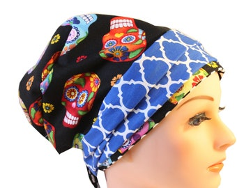 Scrub Hat Cap Chemo Bad Hair Day Hat  European BOHO Banded Pixie Tie Back Cantina Sugar Skull Blue Quaterfoil Band 2nd Item Ships FREE