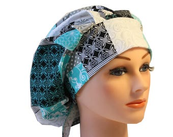 Scrub Cap Surgical Hat Chef   Dentist Hat Tie Back Bouffant  Blue Teal Patchwk Grey 2nd Item Ships FREE