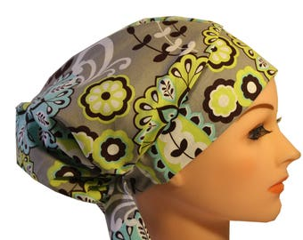 Scrub Hat Cap Chemo Bad Hair Day Hat  European BOHO Pixie Lime Grey Paisley 2nd Item Ships FREE