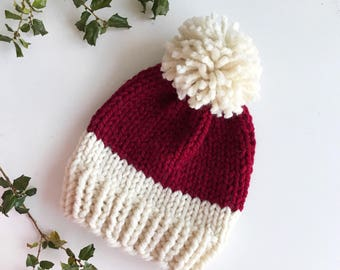 Christmas Santa Hat, Pom Pom Knit Holiday- Annapolis Hat