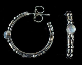 Rainbow Moonstone Silver Hoop Earrings: DIANA