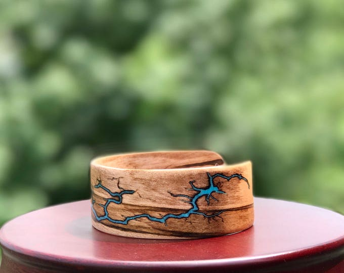 Featured listing image: Electrocuted Bent Wood Bracelet with Turquoise Inlay