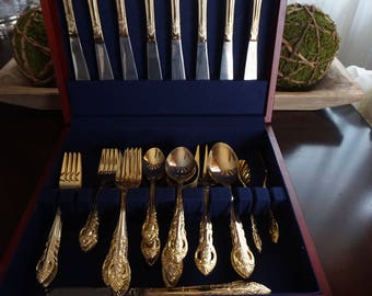Vintage, Hampton Silversmith Stainless no. 215, 48 Piece Set Electroplate Flatware with Wooden Case