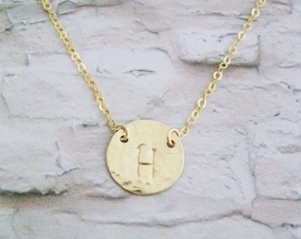 Set of 6 necklaces, Bridesmaids gift, Personalized Initial necklace, Hammered Gold Filled disc necklace, Personalized costum, Mother's day