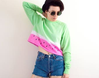 Tie Dye Sweatshirt Watermelon Sweater Summer Crop Top Festival Hipster Tumblr Pastel Grunge  S/M/L/XL