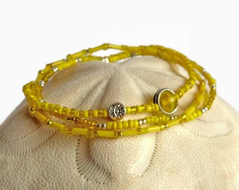 Seed bead bracelet, yellow and silver stretch bracelet, bohemian bracelet, yellow beaded bracelet