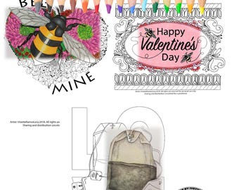 Coloring Book for Adults, coloring pages, Valentine's Day.