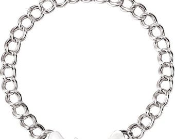 Sterling Silver Charm Bracelet 8 Inches Long   CH656
