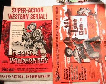 Western Movie Information Pamphlets, 1955 Western Flyers, Old Western Movie Pamphlets, Large Size Western Movie