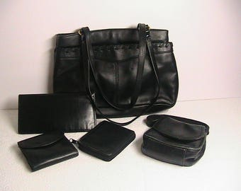 Black Leather Purse and Leather Accessories Lot, 5 Pc. Black Leather Purse Set.