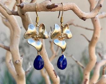 Gold Flower & Lapis Dangle Earrings