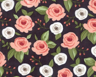 Farmers Daughter Fabric Painted Bouquet Floral in Charcoal  by Vanessa Goertzen of Lella Boutique for Moda Fabrics