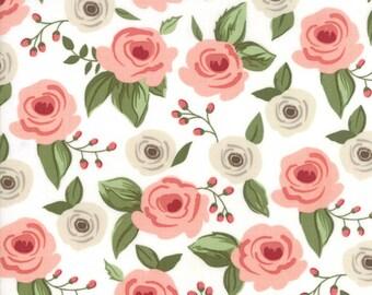Farmers Daughter Fabric Painted Bouquet Floral in Vanilla by Vanessa Goertzen of Lella Boutique for Moda Fabrics