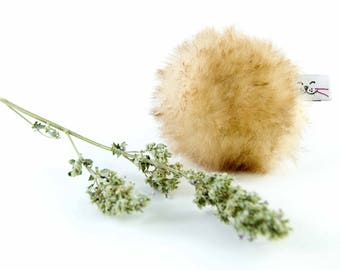 Catnip Toy, Cat Fetch Toy, Flingin' Biscuit Cat Toy, Tan Sheepskin, Optional Rattle