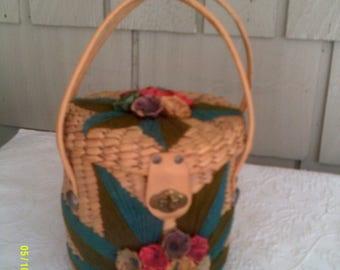 Vintage Lift Top Straw Purse with Flowers, Boho Straw Bag, Straw Handbag