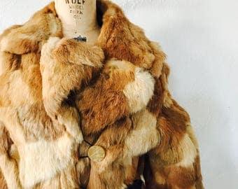 Vintage Fur Heavy Winter Coat / Genuine Fur / Seventies 1970s 70s / Size Large