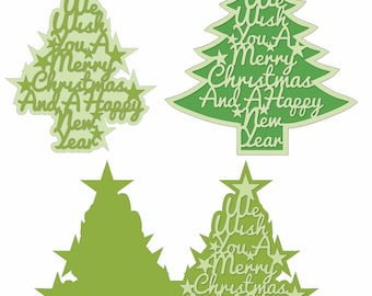Beautiful Christmas Tree Card and Topper Templates for your Cricut Silhouette Digital Die Cutter 5 Templates in SVG, DXF, Studio Format