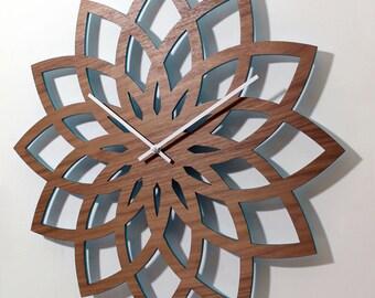 """Statement LOTUS WALL CLOCK - 23"""" diameter - Modern Laser Cut Walnut Wood"""