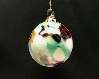 Hand Blown Glass Christmas Ornament (Color Name: Grannies Quilt)