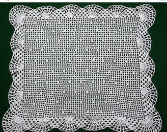 25% SUMMER SALE Vintage white cotton hand Crocheted square table topper Crochet small tablecloth