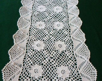 25% SUMMER SALE Vintage ecru Crocheted Table Runner Crochet Tray Cloth crochet table topper