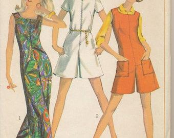 Vintage Jumpsuit Pattern. 1967. Simplicity 7000. Sz:14 Bust 34, One Piece Jump Suit, 2 Lengths. Simple to Sew.