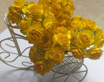 50 Hot Yellow  Color  Mulberry Roses  Paper Flowers Size Medium  20mm /0.9 inch  Wholesale