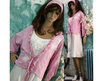 Sabina-Jacket - Hand Dyed Linen-Cotton Romantic Jacket with Frills and Lace Appliques Lagenlook Clothing