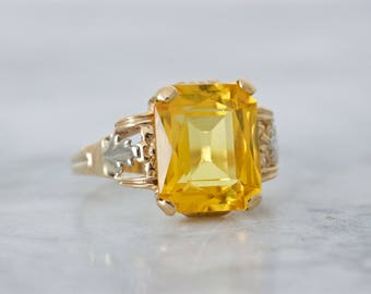 Antique Citrine Ring | November Birthstone Square Gemstone Ring | 10k Yellow Gold Cocktail Ring | 1930s Acanthus Art Deco Ring | Size 6.75