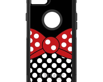 OtterBox Commuter for Apple iPhone 5S SE 5C 6 6S 7 8 PLUS X 10 - Custom Monogram - Any Colors - Red White Polka Dot Bow / Black White