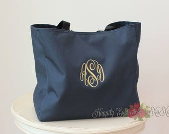 8 Monogram Tote Bags Personalized Wedding Party Gift, Travel Tote, Custom Embroidery by Happily Ever After xoxo