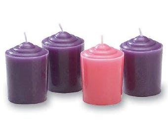 Advent Votive Candle Set, Christmas candles, Advent Wreath, Set Of Four Candles, Purple, Pink, 15 hr Votive Candles, Hope, Faith, Joy, Peace