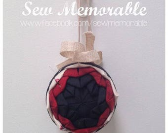Hand quilted Christmas Bauble - Jingle Bells