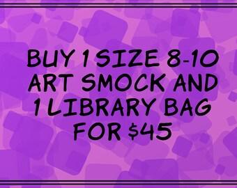 Choose any Size 8-10 Art Smock & any Library Bag
