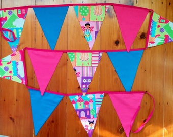 Fabric bunting flags - Fairies, Rainbows and Ponies.