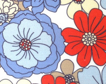 Cotton Pique- Red and Blue Flowers