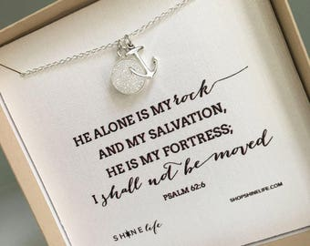 Anchored to the Rock Necklace - anchor necklace - druzy stone - faith jewelry - God is my rock - Psalm 62:6