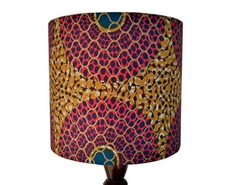 Bull's Eye Handmade Lampshade, Magenta Gold & Blue, 20cm Drum lamp shade, African Wax Print, Dutch Wax fabric