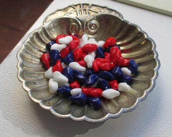Lot Of Salvaged Red White & Blue Glass Curved Beads
