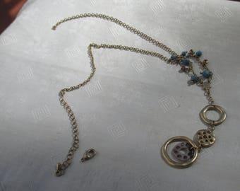 Vintage Blue Beaded  Circular Pendant Necklace Needs Clasp Reattached