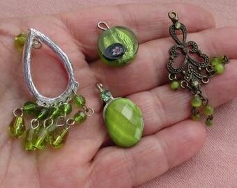 Lot Of Salvaged Green Dangling Pendants Lampwork Bead